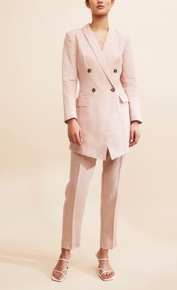 GRACE WILLOW ALYSSA LINEN LONG LINE JACKET / DRESS, DUSTY ROSE
