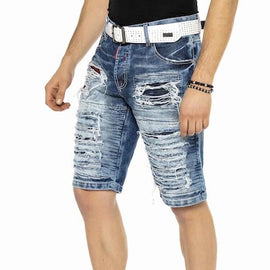 CIPO & BAXX MENS DENIM SHORTS, MOTO & CUT OUT FEATURE, BLUE