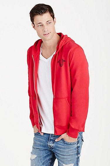 TRUE RELIGION SHOESTRING HORSESHOE HOODIE, RUBY RED
