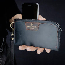 "Load image into Gallery viewer, Θήκη κινητού τηλεφώνου & Πορτοφόλι | ""Business Wallet"" Carbon Black & Brown"