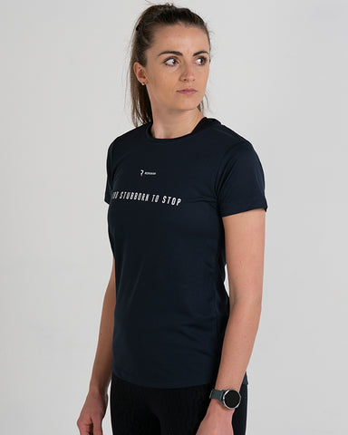 Too Stubborn to Stop Active-Dry Midnight Blue Female T-Shirt