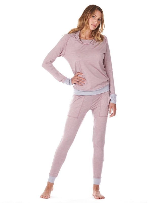 SLEEP PANTS WOMEN DAGSMEJAN DUSTY PINK FRONT