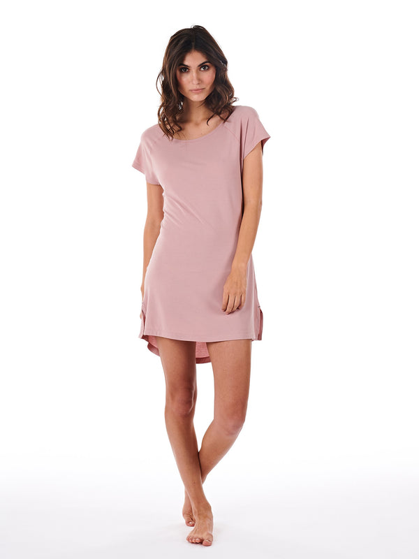 SLEEPSHIRT WOMEN DUSTY PINK FRONT
