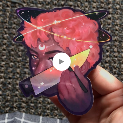 """""""sharp wings"""" holographic sticker product shot"""