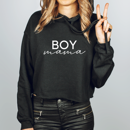 Boy Mama Cropped Hoodie