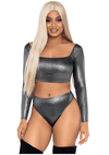 Shimmer Crop Top Set
