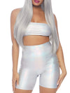 Leg Avenue Holographic Bandeau and High Waist Shorts Set