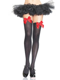 Leg Avenue Opaque Thigh High Stockings With Satin Bow Accents