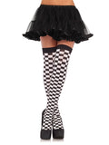 Leg Avenue Opaque Checkerboard Thigh High Stockings