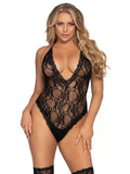 Leg Avenue 2-Piece Floral Lace Deep-V Teddy and Stockings Set