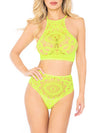 Leg Avenue 2-Piece Boho Crochet Lace Halter Top and Thong Set