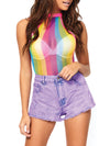 Leg Avenue Rainbow Striped Net Halter Bodysuit With Snap Crotch
