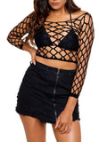 Leg Avenue Pothole Net Long Sleeved Crop Top