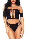 Leg Avenue 2-Piece Dark Thoughts Crop Top & Thong Set