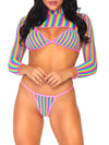 Rainbow Fishnet Top & Bikini Set