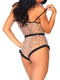 Leg Avenue Lace Trimmed Flocked Star Bodysuit With Snap Crotch