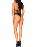 Leg Avenue Multi Net Thong Back Halter Teddy