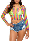 Leg Avenue Rainbow Fishnet Long Sleeved Crop Top