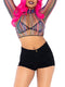 Leg Avenue 3-Piece Striped Fishnet Crop Top & G String Panty Set