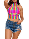 Leg Avenue Rainbow Fishnet High Neck Crop Top