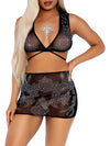 Leg Avenue 2-Piece Rhinestone Sheer Crop Top and Mini Skirt