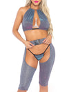 Leg Avenue 3-Piece Iridescent Halter and Buckle Biker Chaps Set