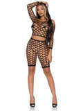 Leg Avenue 2-Piece Net Crop Top and Bike Shorts Set