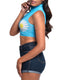 Leg Avenue Daisy High Neck Mesh Crop Top With Zipper Back