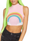 Leg Avenue Rainbow High Neck Mesh Crop Top With Zipper