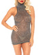 Leg Avenue Lurex Shimmer Spandex High Neck Mini Dress