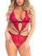 Leg Avenue Scalloped Lace Wrap Around Teddy With Adjustable Straps