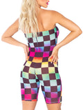 Leg Avenue Rainbow Checkerboard Mesh Strapless Romper