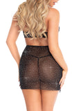Leg Avenue Rhinestone Eyelash Lace Keyhole Dress With G-String