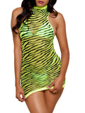 Leg Avenue High Neck Neon Sheer Zebra Mini Dress