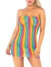 Leg Avenue Rainbow Leopard Lace Tube Mini Dress