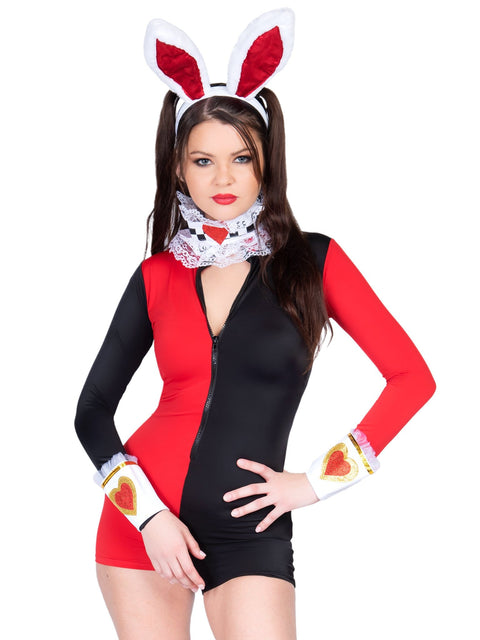 Leg Avenue Zipper Front Two Tone Harlequin Romper Costume
