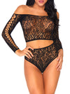 Leg Avenue 2-Piece Bloom Long Sleeved Lace Crop Top & Thong Set