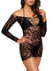 Leg Avenue Crochet Lace Long Sleeved Mini Dress