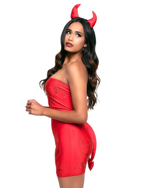 Leg Avenue 3-Piece Bedazzled Devil Costume Dress Set
