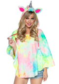 Leg Avenue Tie Dye Unicorn Poncho Costume With Horn Hood