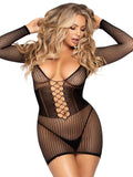 Leg Avenue Net Long Sleeve Mini Dress With Cincher Detail