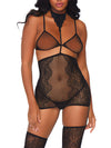Leg Avenue Lace Halter Garter, Bikini and Thigh High Set
