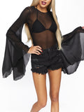 Leg Avenue Mesh Bell Sleeve Bodysuit With Keyhole Back