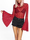 Leg Avenue High Neck Lace Bell Sleeve Bodysuit With Keyhole Back