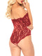 Leg Avenue Scalloped Rose Lace Crotchless Teddy With Cuff Sleeves