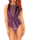 Leg Avenue Velvet and Lace Starburst Bodysuit With Snap Crotch