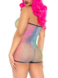 Leg Avenue Lurex Rainbow Net Strapless Romper