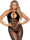 Leg Avenue Lace and Opaque Keyhole Halter Bodystocking