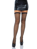 Leg Avenue Satin Bow Top Fishnet Thigh Highs With Rhinestone Back Seam