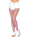 Leg Avenue Lurex Shimmer Rainbow Striped Fishnet Tights